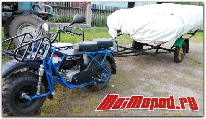 Мотовездеход Скаут с коляской и прицепом